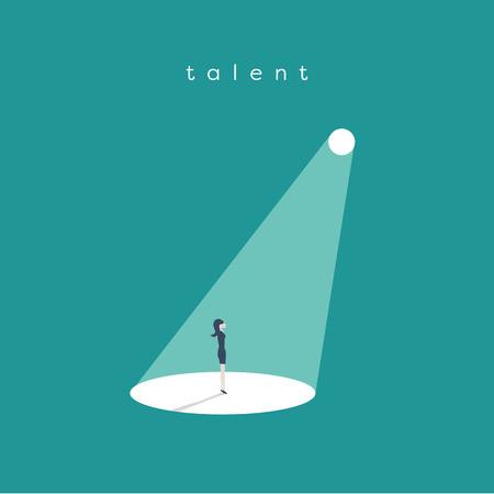 Ilustración de Business recruitment or hiring vector concept. Looking for talent. Businesswoman standing in spotlight or searchlight looking for new career opportunities. - Imagen libre de derechos