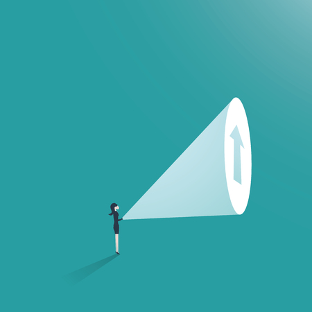 Ilustración de Business woman ambition business concept vector. Businesswoman with flashlight and arrow up as symbol of career promotion and growth. - Imagen libre de derechos