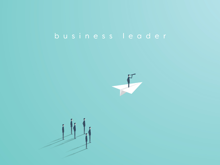 Illustration pour Business leadership concept with businessman flying on a paper plane as symbol of success, ambition, inspiration. Eps10 vector illustration. - image libre de droit
