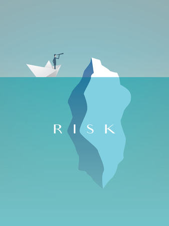 Ilustración de Business risk vector concept with businessman in paper boat sailing close to iceberg. Symbol of danger, challenge, courage. - Imagen libre de derechos