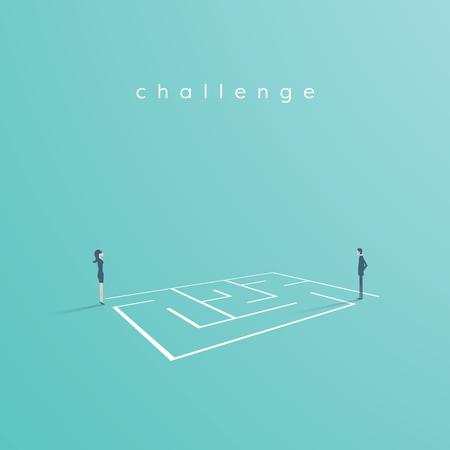 Ilustración de Business solution and challenge vector concept. Businesswoman and businessman standing next to a maze, labyrinth. Eps10 vector illustration. - Imagen libre de derechos