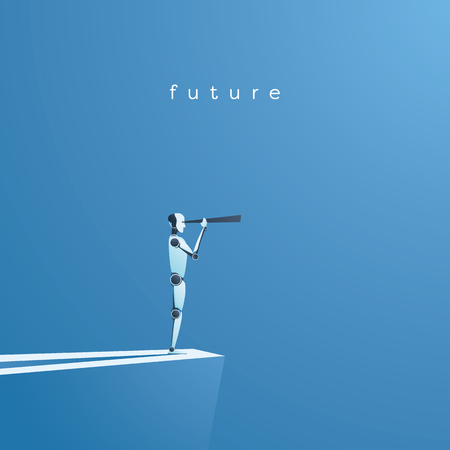 Illustration pour Ai or artificial intelligence vector concept with ai robot looking through telescope into future. Symbol of technology advance, innovation, automation. - image libre de droit