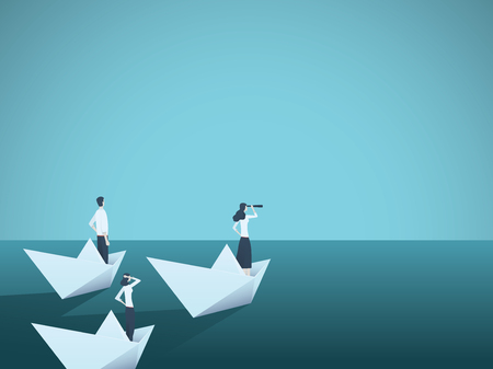 Ilustración de Business woman leader vector concept with businesswoman in paper boat leading team. Symbol of equality, woman power, leadership, vision. - Imagen libre de derechos