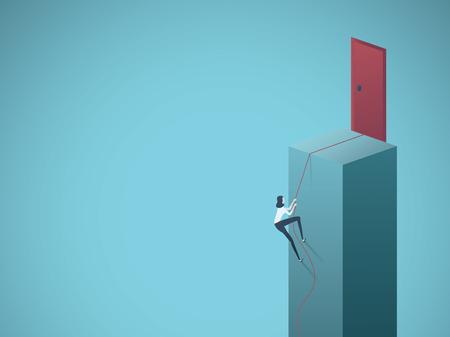 Ilustración de Business motivation and ambition vector concept. Businesswoman climbing up to door. Symbol of success, determination and goals. Eps10 vector illustration. - Imagen libre de derechos