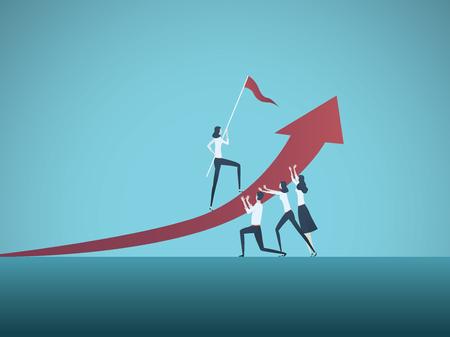 Ilustración de Business objective, goal or target vector concept. Team of business people working together. Symbol of growth, teamwork, challenge. Eps10 vector illustration. - Imagen libre de derechos