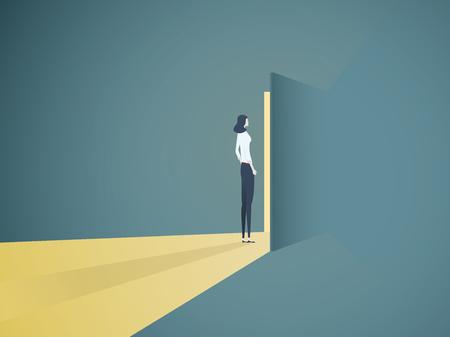 Businesswoman opening door vector concept. Symbol of new career, opportunities, business ventures and challenges. Eps10 vector illustration.