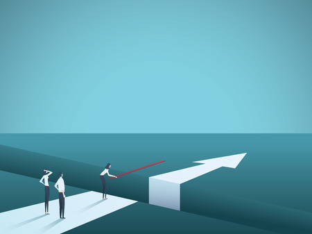 Business challenge overcome and finding solutions vector concept. Woman building bridge over gap. Symbol of creative teamwork, innovation, success and achievement. Eps10 vector illustration.