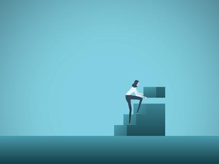 Ilustración de Business growth and career development vector concept with businesswoman building steps. Symbol of career ladder, promotion, success, rise, ambition and motivation. Eps10 illustration. - Imagen libre de derechos