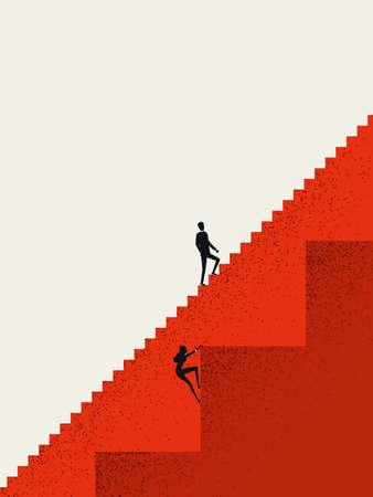 Ilustración de Business gender inequality vector concept with businessman and businesswoman on different stairs. Career opportunities. - Imagen libre de derechos