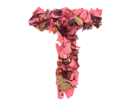 Isolated letter T - capital alphabet made from dry red flower petals