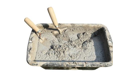 Photo pour cement mortar trowel on white background - image libre de droit