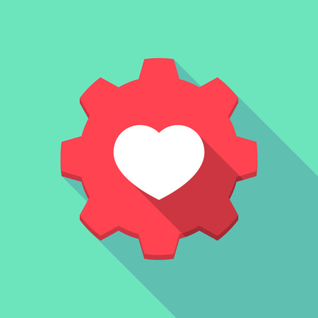 Illustration of a long shadow gear icon with a heart