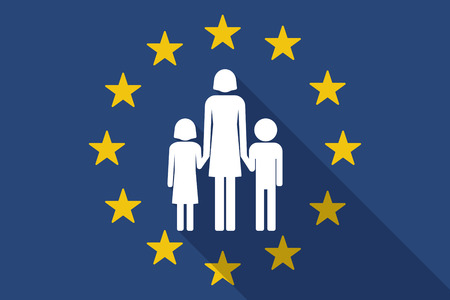 Illustration for Illustration of an European Union  long shadow flag with a female single parent family pictogram - Royalty Free Image