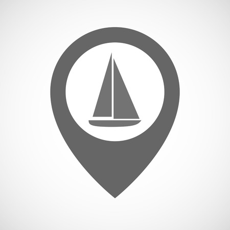 Illustration pour Illustration of an isolated map marker with a ship - image libre de droit