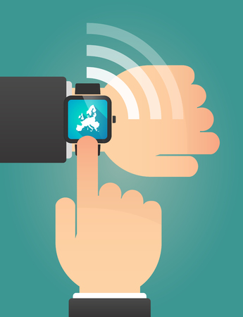 Illustration of a hand pointing a smart watch with  a map of Europe