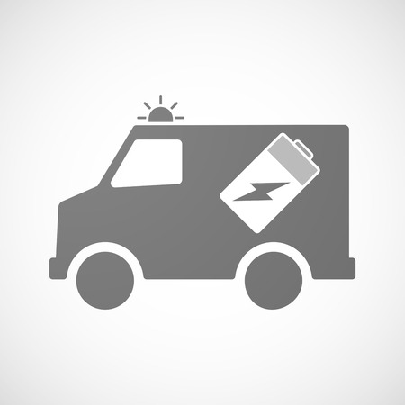 Illustration of an isolated ambulance icon with a battery