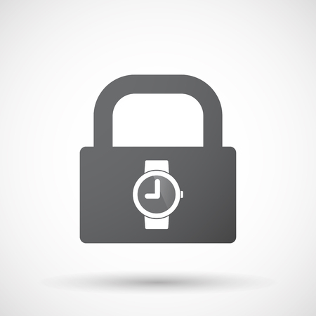 Illustration of an isolated lock pad icon with a wrist watch