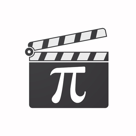 Illustration pour Illustration of an isolated clapper board with the number pi symbol - image libre de droit