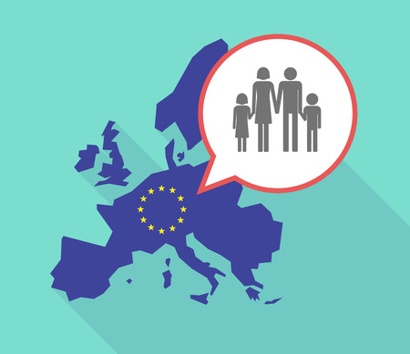 Illustration of a long shadow European Union map, its flag and a balloon with a conventional family pictogram