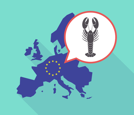 Illustration of a long shadow European Union map with its flag, and a comic balloon with a lobster seafood