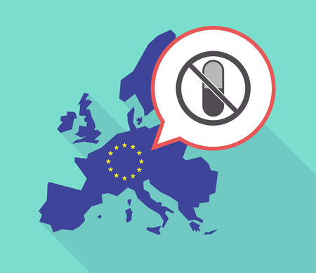 Illustration of a long shadow European Union map with its flag, and a comic balloon with  a pill  in a not allowed signal