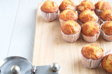 Delicious homemade muffins freshly made to take with a hot coffee