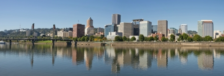 Portland Oregon Downtown Waterfront Skyline Reflection Panorama