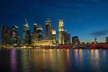 Singapore River Waterfront Skyline at Blue Hour from Esplanade
