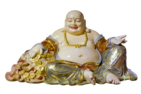 Big Belly Maitreya Cloth Bag Monk Buddha Statue Isolated on White Background