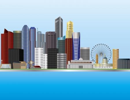 Photo pour Singapore City by the Mouth of Singapore River Skyline Illustration - image libre de droit