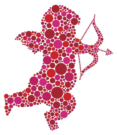Valentines Day Love Cupid with Bow and Arrow Silhouette Filled with Pink and Red Polka Dots Illustration