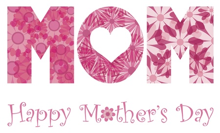 Happy Mothers Day with MOM Alphabet Letters Outline in Floral Patterns Illustration Isolated on White Background