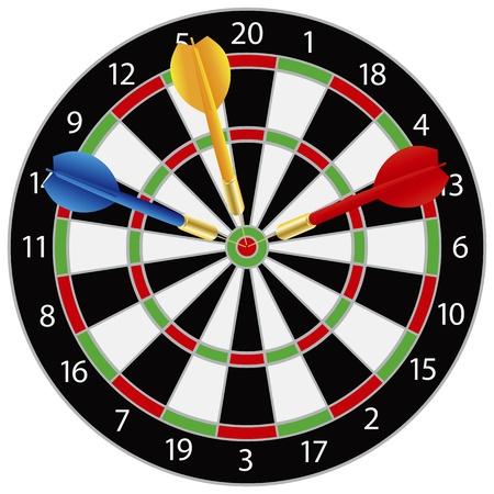 Dartboard with Darts on Bullseye Illustration Isolated on White Background