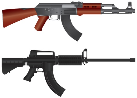 Assault Rifles AR 15  and AK 47 Semi Automatic Weapons Illustration Isolated on White Background