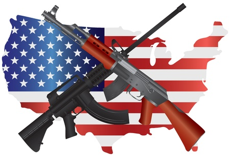 Assault Rifles AR 15 and AK 47 Semi Automatic Weapons on USA Map Flag Second Amendments Consitution Illustration