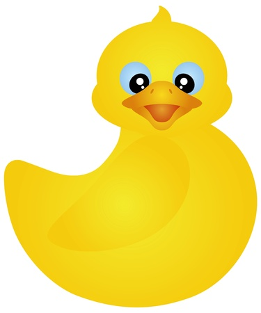 Swimming Yellow Rubber Ducky Isolated on White Background Illustration