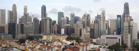 Singapore City Skyline And Chinatown Area Daytime Panorama