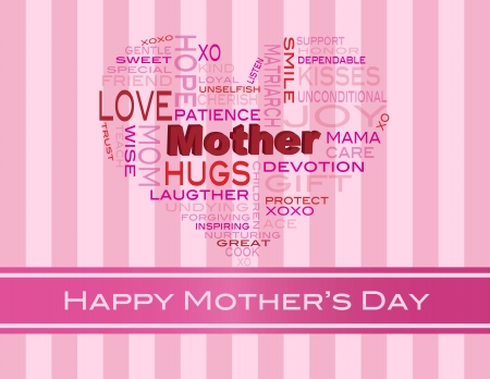 Happy Mothers Day Word Cloud in Heart Shape Silhouette on Pink Stripes Background Illustration