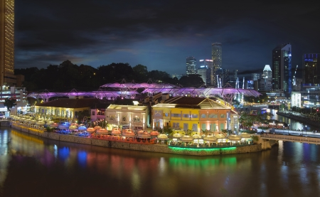 Nightlife at Clarke Quay Along Singapore River at Blue Hour Panorama Aerial View