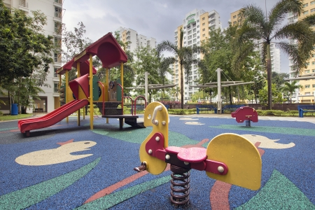 Singapore Public Housing Apartments Animal Ride at Children Playground in Punggol District