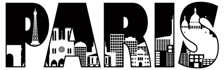 Paris France City Skyline Text Outline Black and White Silhouette Illustration