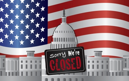 Washington DC US Capitol Building with We are Closed Sign on US American Flag Background Illustration