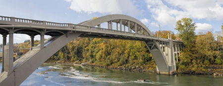 Oregon City Arch Bridge Over Willamette River Connecting West Linn and Oregon City Autumn Scene Panorama
