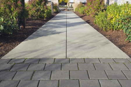 Commercial Outdoor Space Sidewalk Landscaping with Walk Path and Plants