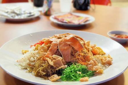 Chinese New Year Teochew Style Raw Fish Salad for Lo Hei Toss