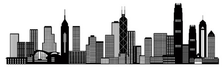 Hong Kong City Skyline Panorama Black Isolated on White Background Illustration