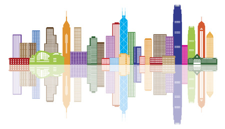 Illustration pour Hong Kong City Skyline Panorama Color Isolated on White Background Illustration - image libre de droit