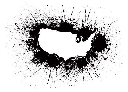 Illustration pour USA Map Outline Grunge Ink Paint Splatter Abstract Black Isolated on White Background Illustration - image libre de droit