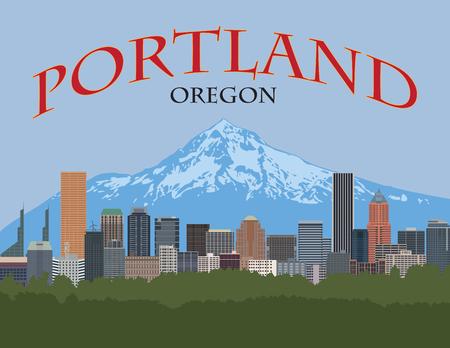 Illustration pour Portland Oregon city downtown skyline with Mount Hood color poster illustration - image libre de droit