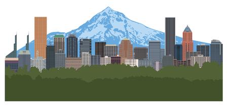 Illustration pour Portland Oregon city downtown skyline with Mount Hood color illustration - image libre de droit